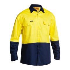 Bisley 2 Tone Hi Vis Drill Shirt - Long Sleeve - Yellow / Navy