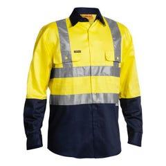 Bisley 2 Tone Hi Vis Drill Shirt 3M Reflective Tape - Long Sleeve - Yellow / Navy