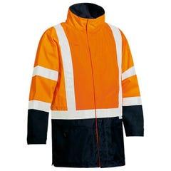 Bisley 3M Taped 2 Tone Hi Vis Anti Static Wet Weather Jacket - Orange / Navy
