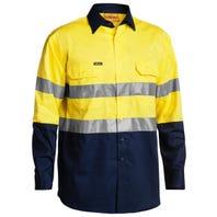 Bisley 3M Taped Two Tone Hi Vis Cool Lightweight Mens Shirt - Long Sleeve - Yellow / Navy