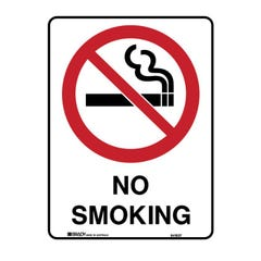Brady Prohibition Sign - No Smoking H450mm x W300mm