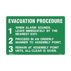 Brady Emergency Information Sign - Evacuation Procedure 123 H300mm x W450mm