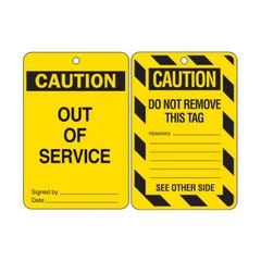 Brady Lockout Tags - Caution Out Of Service (Qty x 10)