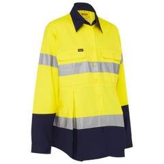 Bisley 3M Taped Hi Vis Maternity Drill Shirt - Yellow / Navy