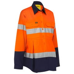 Bisley 3M Taped Hi Vis Maternity Drill Shirt - Orange / Navy