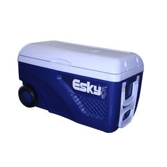 Esky Blue And White Hard Ice King Cooler With Wheels 65L