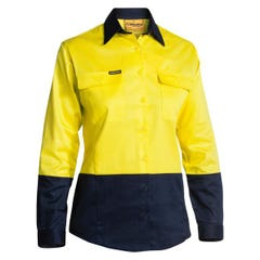 Bisley Womens 2 Tone Hi Vis Drill Shirt - Long Sleeve - Yellow / Navy