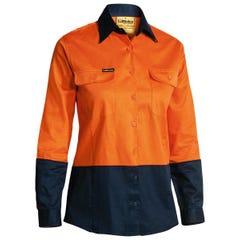 Bisley Womens 2 Tone Hi Vis Drill Shirt - Long Sleeve - Orange / Navy