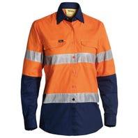 Bisley Womens 3M Taped Hi Vis X Airflow Ripstop Shirt - Orange / Navy