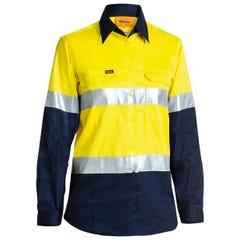 Bisley Womens 3M Taped Two Tone Hi Vis Cool Lightweight Shirt - Long Sleeve - Yellow / Navy