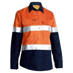 Bisley Womens 3M Taped Two Tone Hi Vis Cool Lightweight Shirt - Long Sleeve - Orange / Navy