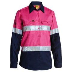 Bisley Womens 3M Taped Two Tone Hi Vis Cool Lightweight Shirt - Long Sleeve - Pink / Navy