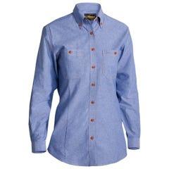 Bisley Womens Chambray Shirt - Long Sleeve - Blue