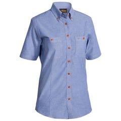 Bisley Womens Chambray Short Sleeve Shirt Blue - Blue