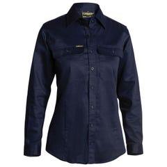 Bisley Womens Drill Shirt - Long Sleeve - Navy