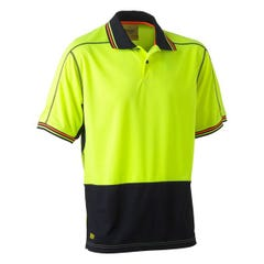 Bisley Two Tone Hi Vis Polyester Mesh Short Sleeve Polo Shirt - Yellow / Navy