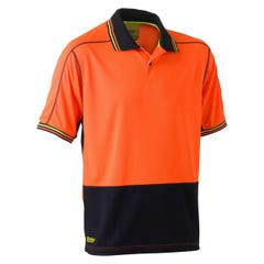 Bisley Two Tone Hi Vis Polyester Mesh Short Sleeve Polo Shirt - Orange / Navy
