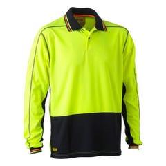 Bisley Two Tone Hi Vis Polyester Mesh Long Sleeve Polo Shirt - Yellow / Navy