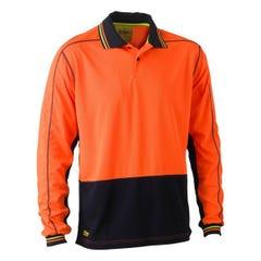 Bisley Two Tone Hi Vis Polyester Mesh Long Sleeve Polo Shirt - Orange / Navy