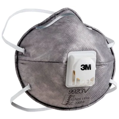 3M Cupped Particulate Respirator 9923V, P2, with Nuisance Level* Organic Vapour Relief, valved (Qty x 10)