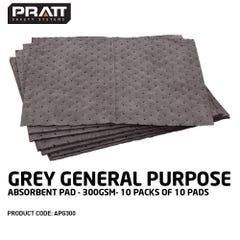 Grey General Purpose Absorbent Pad - 300gsm (Qty x 10)