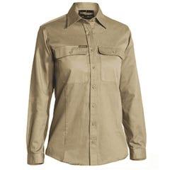 Bisley Womens Drill Shirt - Long Sleeve - Khaki