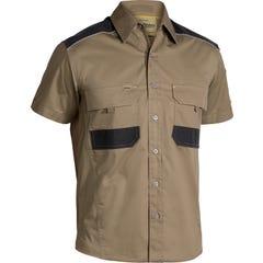 Bisley Flex & Move Mechanical Stretch Shirt - Short Sleeve - Khaki