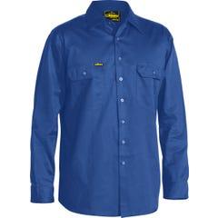 Bisley Cool Lightweight Drill Shirt - Long Sleeve - Royal