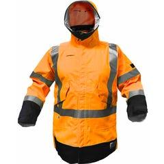 Tru Workwear Flame Retardant & Anti-static Parka Hi Vis With Fr Reflective Tape - Orange / Navy