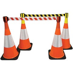 Spill Crew Retractable Cone Top Barrier Red / White 3m