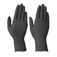 Workforce Black Nitrile Disposable Gloves - Heavy Duty L Black (Qty x 100)