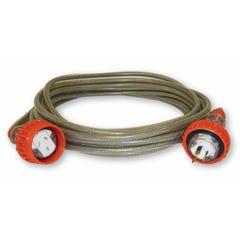 Amplec Braided Ext. Lead - 15AMP 20 Metre Industrial Plug & Socket