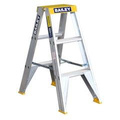 Bailey Step Ladder Double Sided Aluminium 0.9m 150kg