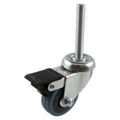 Easyroll 50mm Grey Rubber Swivel Brake Bolt Hole Castor G1 Series 40kg