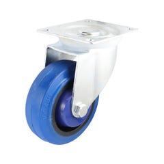 Easyroll 100mm Blue Elastic Rubber Swivel Plate Mount Castor I6 Series 140kg