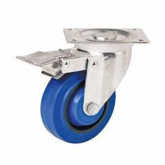 Easyroll 100mm Blue Elastic Rubber Swivel Brake Plate Mount Castor I6 Series 140kg