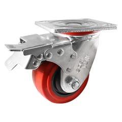 Easyroll 100mm Urethane Swivel Brake Plate Mount Castor J2 Series 280kg