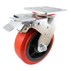 Easyroll 200mm Urethane Swivel Brake Plate Mount Castor J2 Series 455kg