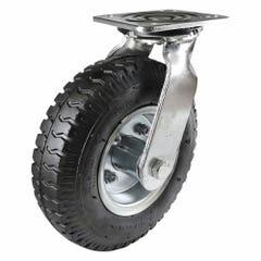Easyroll Pneumatic Swivel Plate Castor 225kg 3.50 x 4mm Black