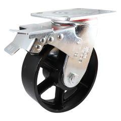 Easyroll 125mm Cast Iron Swivel Brake Plate Mount Castor J3 Series 410kg