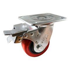 Easyroll Plate Castor with Total Lock Brake Swive Polyurethane/Nylon Tyre Red 280kg 100mm