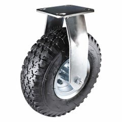 Easyroll Pneumatic Plate Castor Thermoplastic Rubber with Steel Rim Tyre 180kg 250mm Black