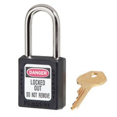 Master Lock  Zenex Thermoplastic Safety Padlocks Black 38mm x 6mm