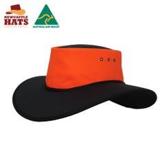 Newcastle Hats Wide Brimmed Nullarbor Hat Safety - Orange/Black