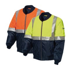 WS Workwear Hi-Vis Waterproof Flying Jacket with Reflective Tape - Lime / Navy