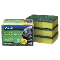 Oates Premium Antibacterial Scourer & Sponge Yellow (Qty x 3)
