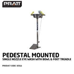 Pratt Pedestal Mounted Single Nozzle Eye Wash With Bowl & Foot Treadle