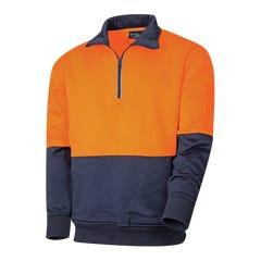 Tru Workwear 1/4 Zip Fleece Jumper - Orange / Navy