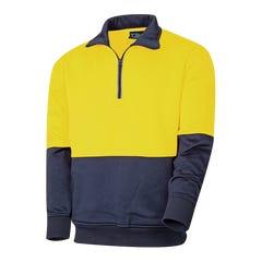 Tru Workwear 1/4 Zip Fleece Jumper - Yellow / Navy