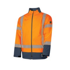 Tru Workwear Flame Retardant & Anti-static Softshell Jacket Hi Vis With 3M Reflective Tape - Orange / Navy